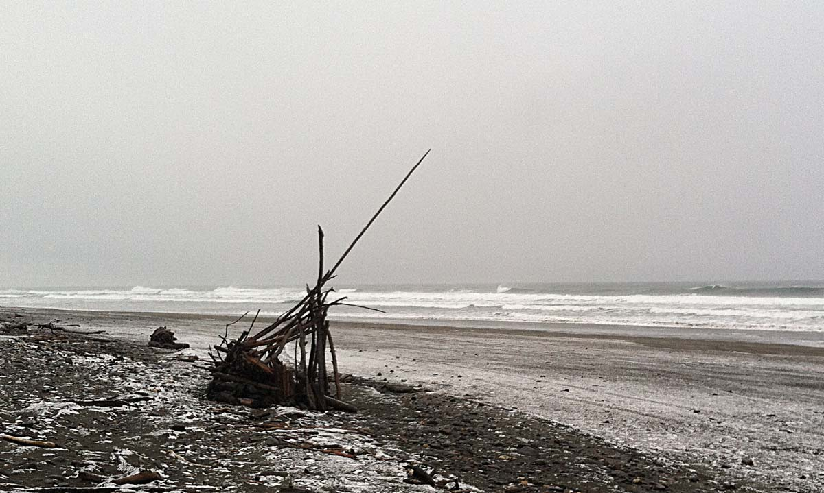 Snow Fort on Oregon Beach