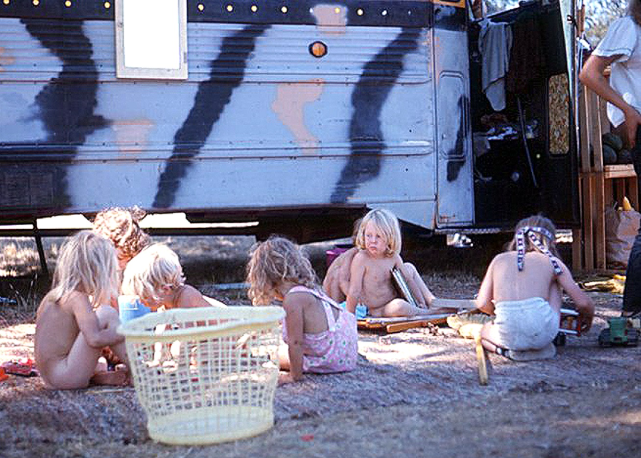 Kids Playing Next to Bus - Vortex 1 - 1970 - McIver State Park