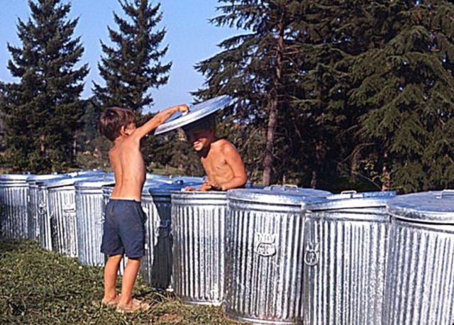 Kids Playing with Trash Cans - Vortex 1 - 1970 - McIver State Park